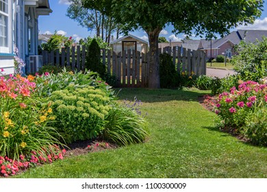 Flower bed and greenhouse in a suburban garden.