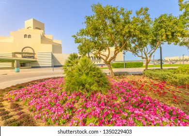 Flower beds and blooming trees along seafront of Doha Bay in Doha park. Popular tourist attraction near Corniche in city center. Qatar, Middle East, Arabian Peninsula, Persian Gulf. Sunny blue sky.