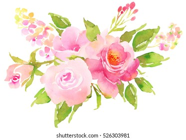 FLower bohemian bouquet with roses. Decorative composition for wedding invitation and save the date card. Watercolor illustration