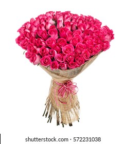 Flower bouquet of 100 pink roses