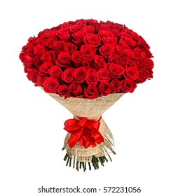 Flower bouquet of 100 red roses