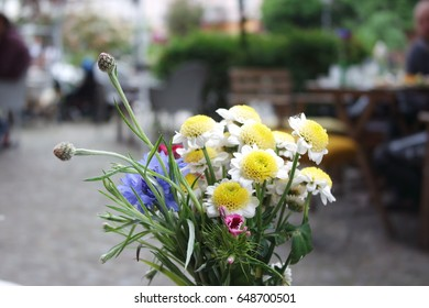 Flower bouquet at a cafe