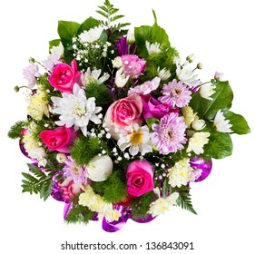 flower bouquet from chrysanthemum and tea roses isolated on white background