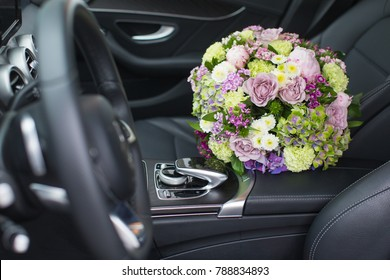 Flower bouquet inside a car