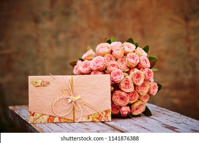 Flower bouquet with Japanese envelope