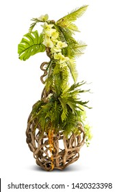 Flower bouquet on creative vine creeping plant stand for decoration isolated on white background