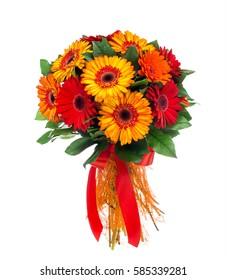 Flower bouquet of red and orange gerberas