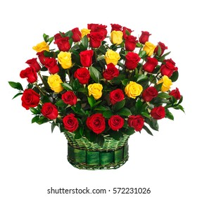 Flower bouquet of red and yellow roses