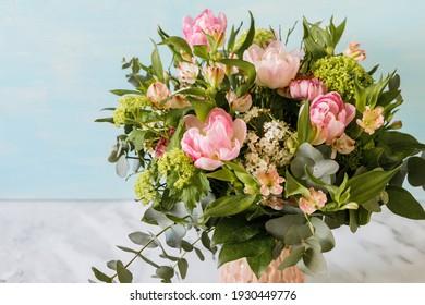 Flower Bouquet - spring flowers - rose, pink, green