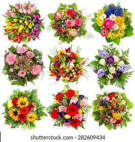 Flower bouquet for spring and summer holidays. Floral objects isolated on white background
