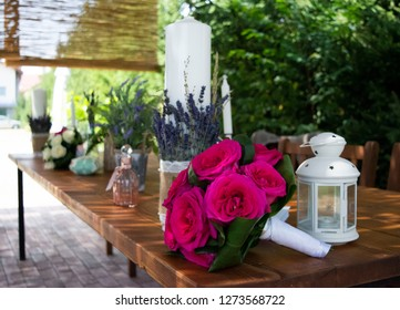 Flower bouquet and table areangement on a special ocassion.