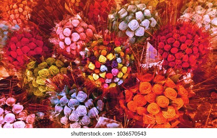 Flower Bouquets	in a Burst of Colors