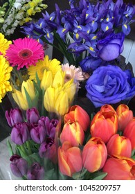 Flower bouquets at market
