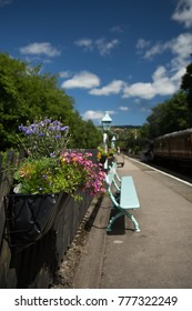 Flower box and bench seat on the platform of Grosmont station in the North York Moors national park