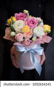 flower box in hands