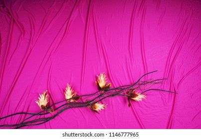 flower and branch on top of red cloth