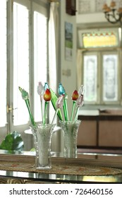 A flower bud shaped table decoration.
