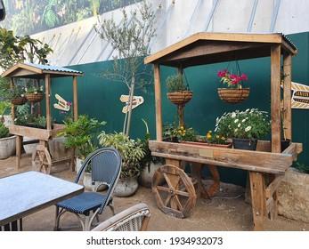Flower Cart in urban garden