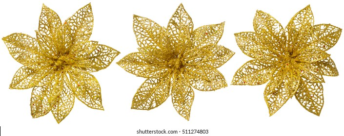 Flower Christmas Tree Decoration, Gold Glossy Ornament Set, Isolated over White background
