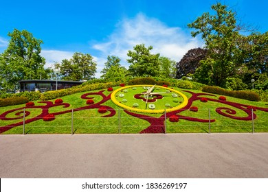 Flower clock or L'horloge fleurie is a symbol of the city watchmakers, located in Jardin Anglais park in Geneva city in Switzerland