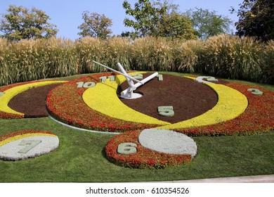 Flower clock in a street side garden in Geneva, Switzerland