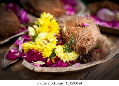 Flower and coconut offerings for Hindu religious ceremony or holy festival