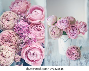 Flower collage .Close-up floral composition with a pink roses and lilacs.