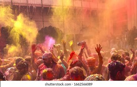 Flower & colors use during the World fames HOLI Festival of india Celebrate at Vrindavan distt Mathura Uttar Pradesh India Dated 27 Fab 2018.
