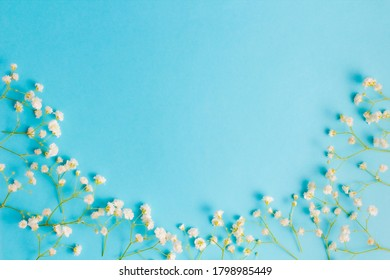 Flower composition. Frame from flowers of gypsophilia on a blue background. Top view, flat lay, place for text, copy space.