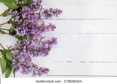 Flower composition. Frame of lilac flowers on a white wooden background. Flat lay, space for text.