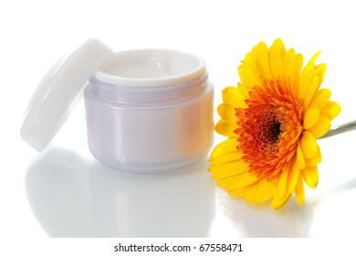 flower and cream on a white background is isolated.
