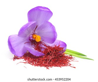 Flower crocus and dried saffron spice