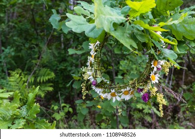Flower crown of the meadow hanging in the oak branch. Summer Solstice Day - Midsummer Day. Ligo night. Natural background.