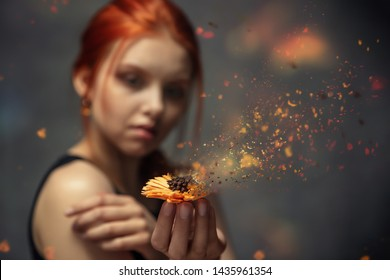 Flower crumbling in the hands of a red-haired young girl