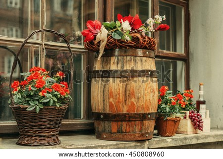 Flower Decor Wooden Barrel Baskets Cafe Stock Photo Edit Now