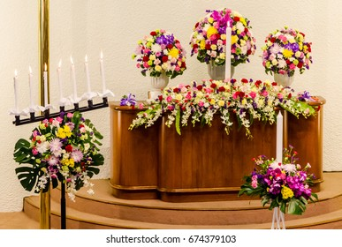 Flower decorate on wedding ceremony