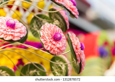 flower decoration in flower festival parades in chiang mai ,thailand