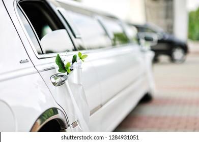 Flower decoration on a luxury car
