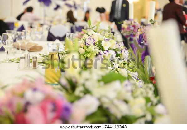 Flower Decoration Wedding Reception Stock Photo (Edit Now) 744119848