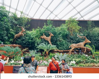 Flower dome, Gardens by the Bay, Singapore - Jan 28th, 2019 - decorated for Lunar New Year, Tet holidays - it's the largest glass greenhouse in the world