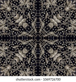 Flower embroidery with silver thread on black velvet.Seamless pattern.Vintage decoration.