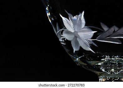 Flower Etching on Antique Glass Bowl