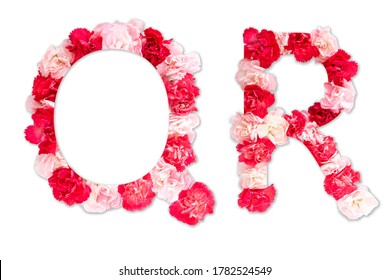 flower font alphabet Q R set (collection A-Z), made from real Carnation flowers pink, red color with paper cut shape of capital letter. flora font for text, typography decoration isolated on white