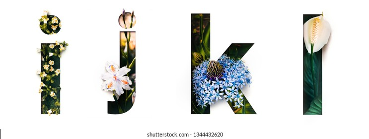 Flower font letter i, j, k, l Create with real alive flowers and Precious paper cut shape of alphabet. Collection of brilliant bloom flora font for your unique text, typography with many concept ideas