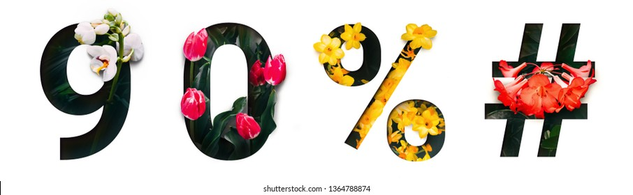 Flower font number 9, 0, %, # Create with real alive flowers and white background cut shape of Number. Collection of brilliant bloom flora font for your unique text, typography with many concept ideas