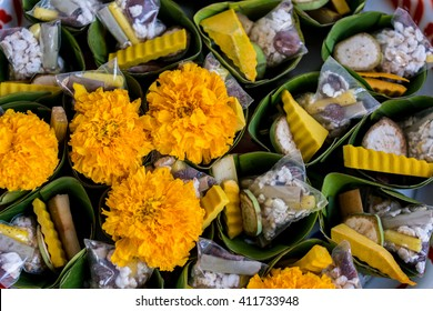 Flower and food or object offerings for Hindu religious ceremony or holy festival