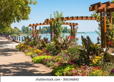 Flower garden at Lake Balaton's beach in Balatonfured, Hugary