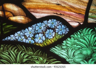 Flower garden in a stained glass window. From St. Paul's Church (1749), Halifax, Nova Scotia.