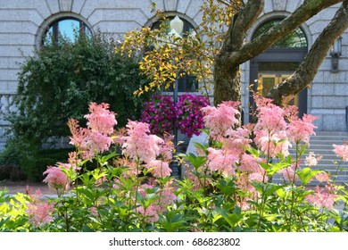 Flower gardens and historical buildings