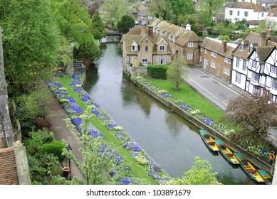 Flower gardens on the banks of the River Stour, Canterbury, Kent, UK